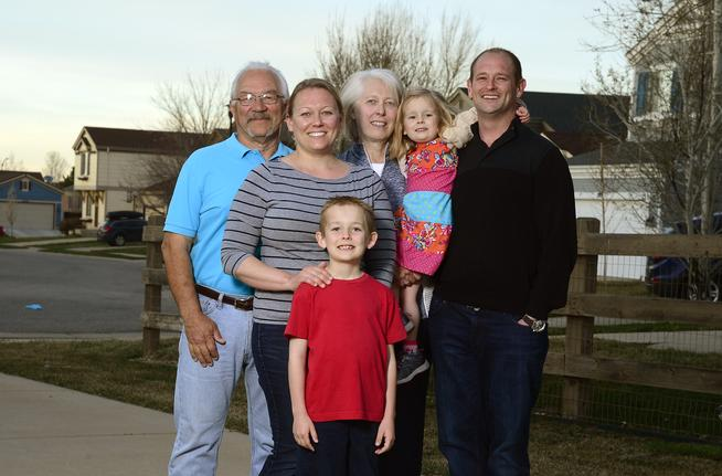 Mike Haas, Lauren Griffith , Luke Griffith, Sandy Haas, Emma Griffith and Jeff Griffith near the Griffith home on April 6, 2016 in Erie, Colorado. The